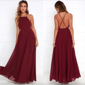 BRAND NEW WITH TAGS! RED CHIFFON MAXI DRESS